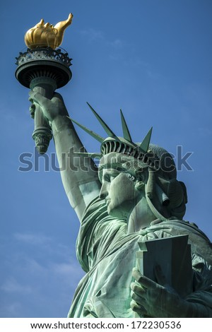 Close-up photo of the Statue of Liberty in New York city, USA. - stock photo