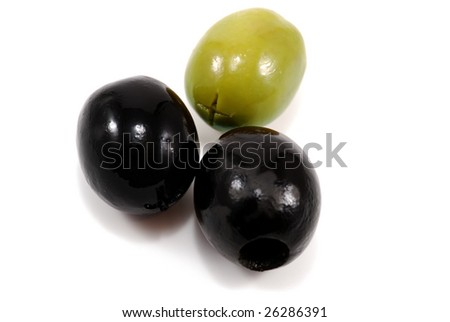 close-up photo of three olives isolated on white - stock photo