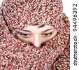 close up photo of women with scarf - stock photo
