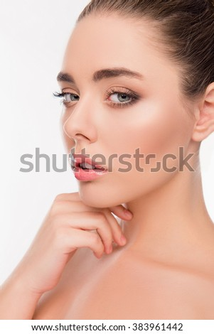 Close up photo of  young cute girl with seductive look - stock photo