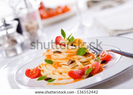 Close up photograph of a fancy pasta meal