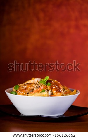Close up photograph of tasty chinese meal with chicken - stock photo