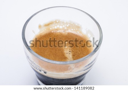 Close-up picture of a coffee in glass