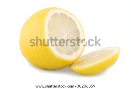 Close-up picture of a fresh lemon fruit isolated on white - stock photo