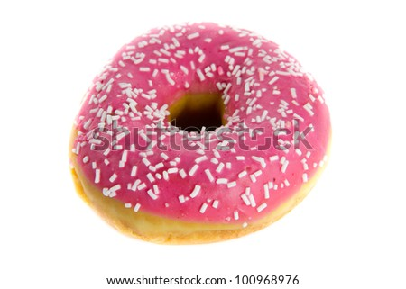 Close up picture of a strawberry donut on a white background - stock photo
