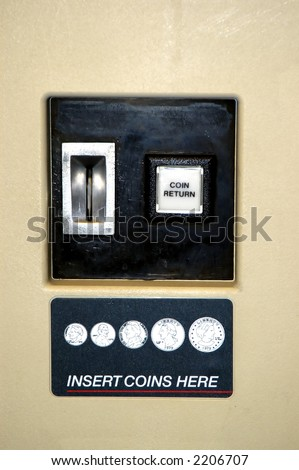 Close up picture of a vending machine - stock photo