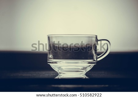 Close up picture of an empty transparent glass