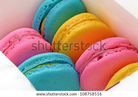 Close up picture of macarons in the box - stock photo