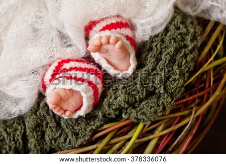 Close up picture of new born baby feet, christmas time. Soft fokus - stock photo