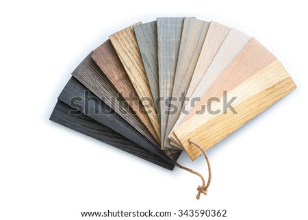Close up piece of wood color guide for sample isolated on white background - stock photo