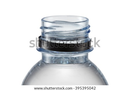 Close up plastic bottle without cap isolated on white background, includes clipping path. - stock photo