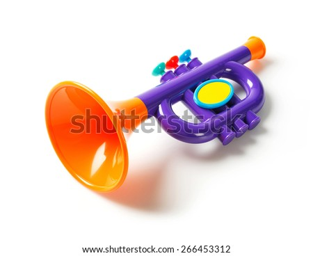 Toy trumpet stock images royalty free images vectors shutterstock close up plastic toy trumpet for children isolated on white sciox Choice Image