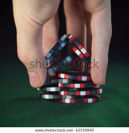 """Close up poker chips trick """"shuffle"""" (soft focus) - stock photo"""
