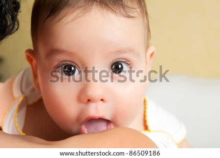 Close up portrait little boy - stock photo