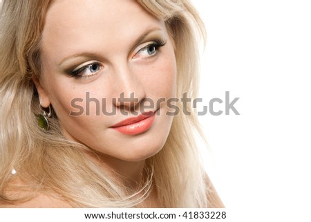 Close-up portrait of a beautiful blond woman with perfect skin and natural make-up - stock photo