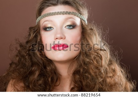 Close-up portrait of a beautiful brown-haired gilr, European, White, Caucasian,