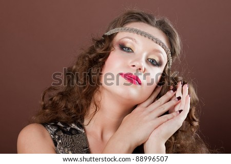 Close-up portrait of a beautiful brown-haired gilr, European, White, Caucasian - stock photo