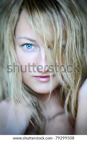 Close-up portrait of a beautiful caucasian woman - stock photo