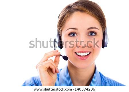 Close-up portrait of a beautiful customer representative - stock photo