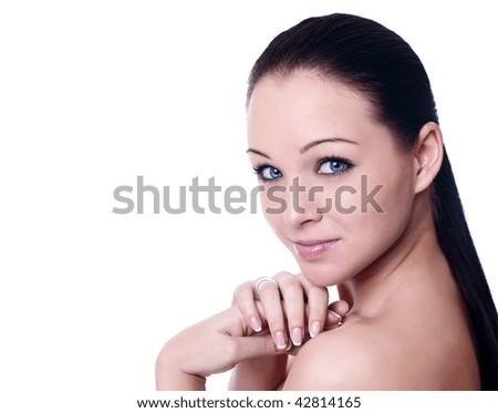 Close up portrait of a beautiful female model - stock photo
