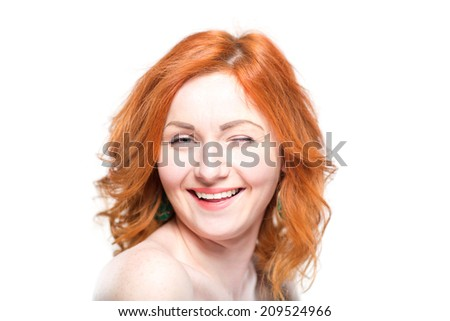 Close-up portrait of a beautiful redhead woman, laughing. Isolated on white background. Facial expression and emotions.