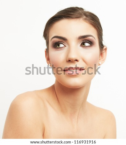 Close up portrait of a beautiful smiling woman isolated against white background
