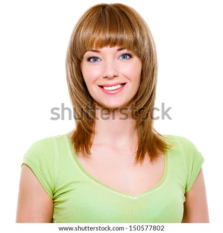 Close-up portrait of a beautiful smiling young woman with healthy teeth - stock photo