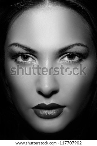 close up portrait of a beautiful woman - stock photo