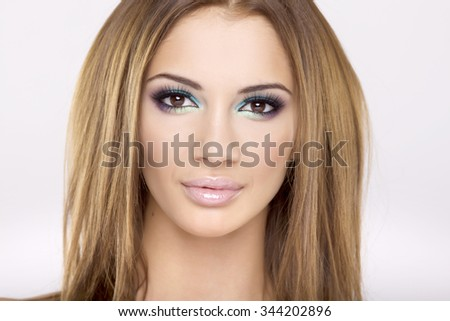 Close up portrait of a beautiful young adult attractive sexy and sensuality pretty brunette woman isolated on white background. Head shot - stock photo