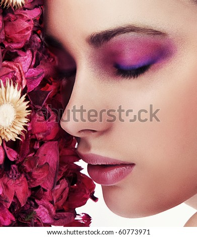 Close up portrait of a beautiful young lady - stock photo