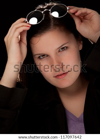 Close up portrait of a beautiful young woman - stock photo