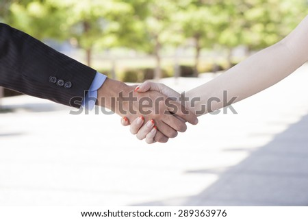 Close up portrait of a businessman and a businesswoman shaking hands - stock photo