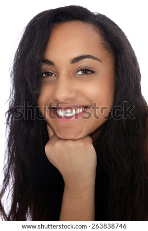 Close up Portrait of a Cheerful Young Indian Woman with Long Black Hair Smiling at the Camera with Fist on her Chin. Isolated on White Background. - stock photo