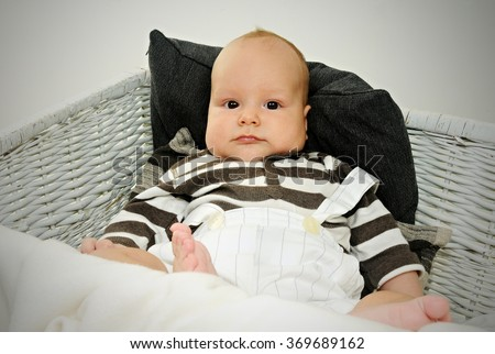 close up portrait of a chubby baby with adirable chicks posing inside a big white straw basket  - stock photo