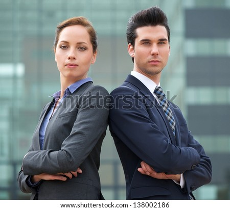 Close up portrait of a confident young business team - stock photo
