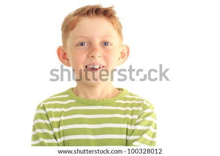 Close up portrait of a cute boy against white background - stock photo