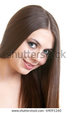 Close-up portrait of a fresh and beautiful young brunette fashion model - stock photo