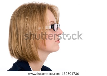 Close-up portrait of a girl in profile. Isolated on white background - stock photo