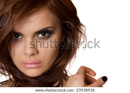 Close up portrait of a gorgeous woman. isolated - stock photo