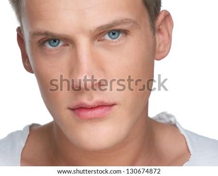 Close up portrait of a handsome caucasian man - stock photo