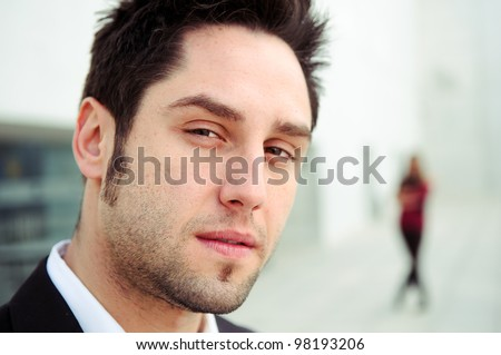 Close up portrait of a handsome young business man