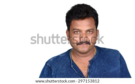 Close up portrait of a handsome young indian man smiling isolated on white background