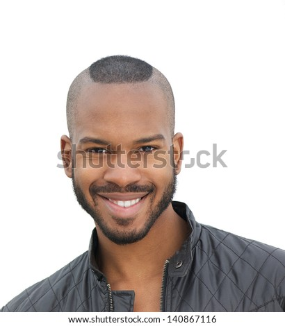 Close up portrait of a happy young man smiling, isolated on white - stock photo