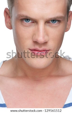 Close up portrait of a male fashion model's face - stock photo