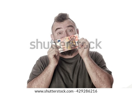 close-up portrait of a man with a sign in his mouth on a white studio background  - stock photo