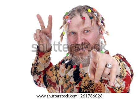 close-up portrait of a man with braids, mustache and beard in colored shirt on a white background studio - stock photo