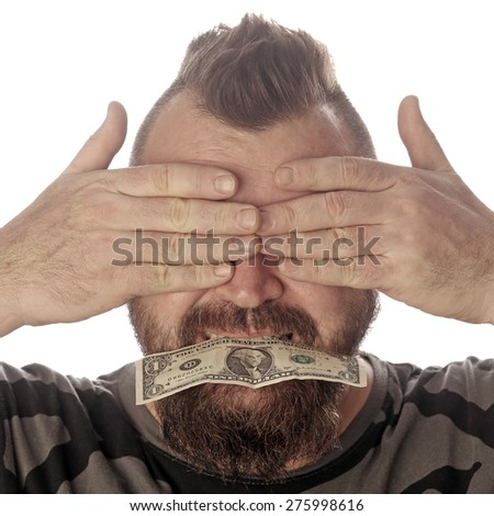 close-up portrait of a man with money in his mouth on a white background studio - stock photo