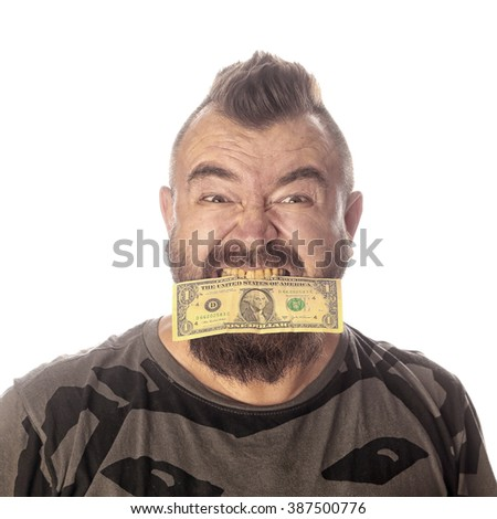 close-up portrait of a man with money in his mouth on a white background studio