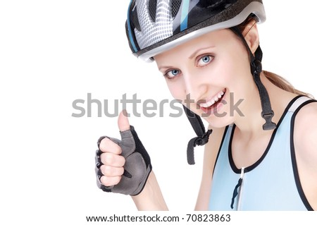 Close-up portrait of a pretty woman with thumb up - stock photo
