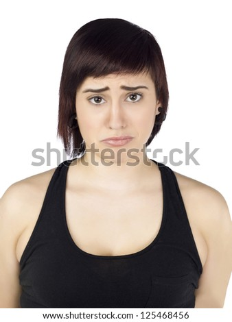 Close up portrait of a sad beautiful lady over the white background - stock photo